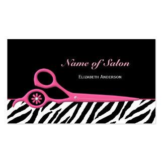 Tijeras rosadas y negras de moda del salón de pelo tarjeta de negocio