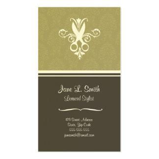 Tijeras verdes de la tapicería tarjetas de visita