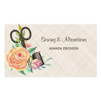 Tijeras y dedal florales de la costurera del tarjetas de visita