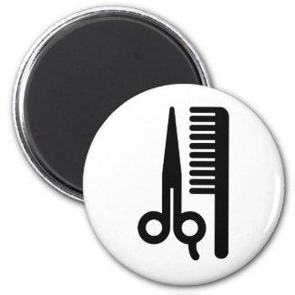 Tijeras y peine imán redondo 5 cm