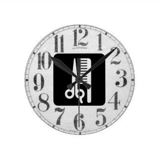 Tijeras y peine reloj redondo mediano