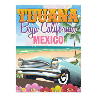 Tijuana Baja California Mexico travel poster Card
