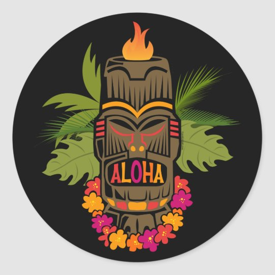 Tiki Aloha Classic Round Sticker