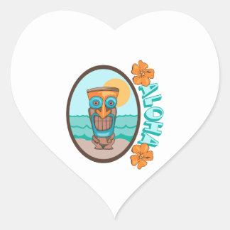 TIKI ALOHA HEART STICKER