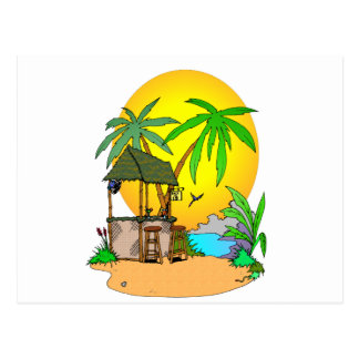 Tiki Bar Island Postcard
