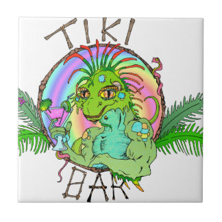 Tiki Bar Lizard Ceramic Tile