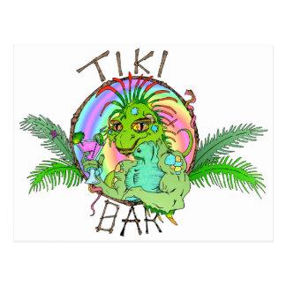 Tiki Bar Lizard Post Cards