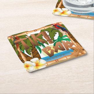 Tiki Bar Party Square Paper Coaster