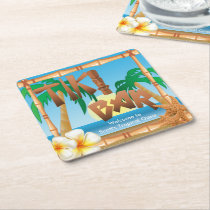 Tiki Bar Personalize Tropical Oasis Square Paper Coaster
