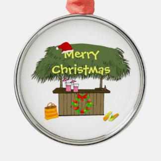 Tiki Bar Santa Hat Wreath Tropical Beach Christmas Metal Ornament
