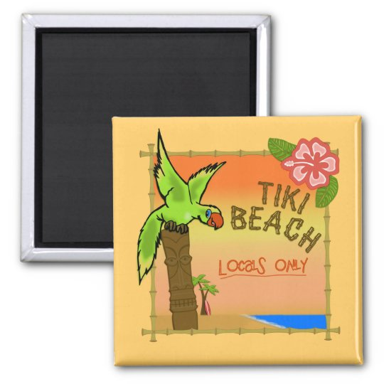 Tiki Beach 2 Inch Square Magnet