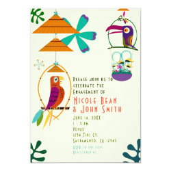 Tiki Birds Retro Vintage Luau Party Invitations
