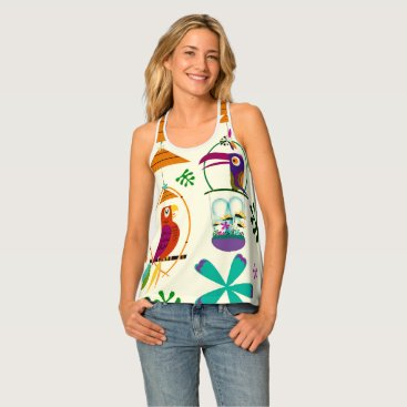 Tiki Birds Tropical Modern Vintage Retro Colorful Tank Top