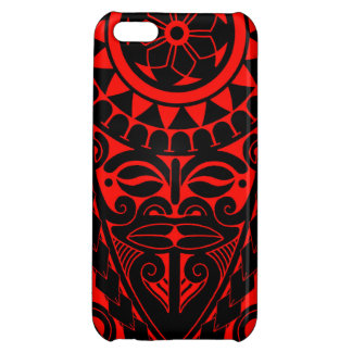 Tiki face and tribal sun tattoo design case for iPhone 5C