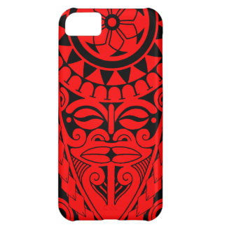 Tiki face and tribal sun tattoo design cover for iPhone 5C