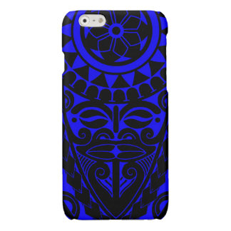 Tiki face and tribal sun tattoo design glossy iPhone 6 case