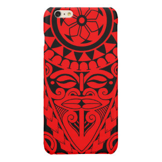 Tiki face and tribal sun tattoo design glossy iPhone 6 plus case