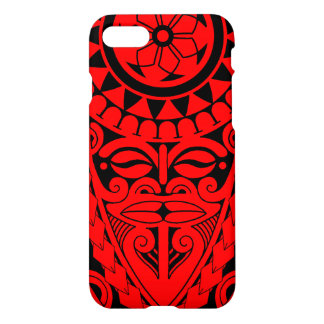 Tiki face and tribal sun tattoo design iPhone 8/7 case