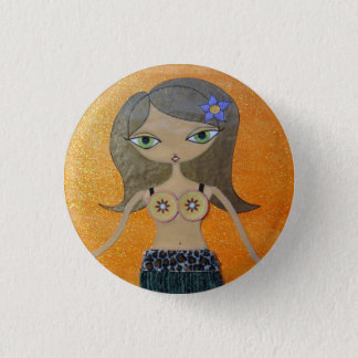 """""""Tiki Girl"""" 1"""" Button by Sunny Crittenden!"""