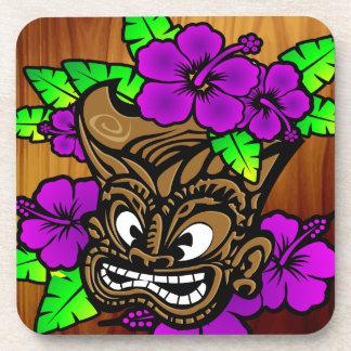 Tiki God and Flowers Drink Coaster
