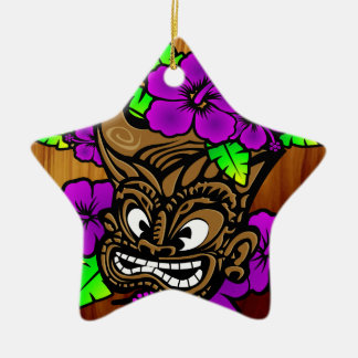 Tiki God and Flowers Double-Sided Star Ceramic Christmas Ornament