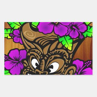 Tiki God and Flowers Rectangular Sticker