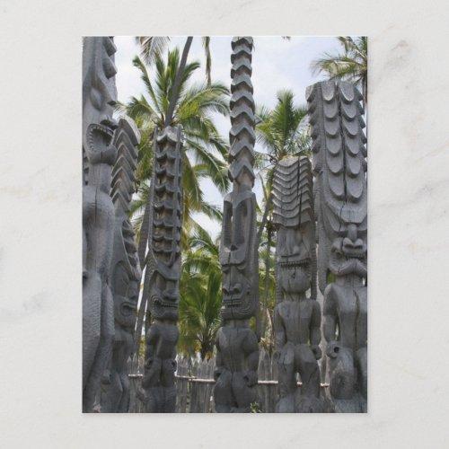 Tiki Guardians at Place of Refuge - Postcard postcard