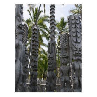 Tiki Guardians at Place of Refuge - Postcard