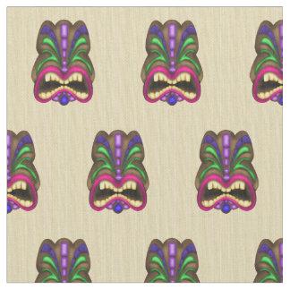 Tiki Head pattern Pima cotton fabric