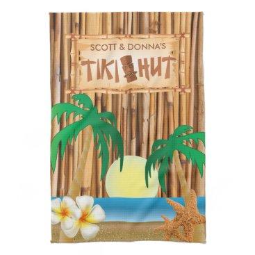 DesignsbyDonnaSiggy Tiki Hut Bamboo Stick Design Hand Towel