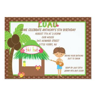 Tiki Hut Brown Boys Birthday Invitation