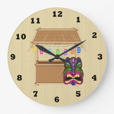 DoodlesGifts Tiki Hut cartoon wall clock
