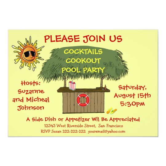 tiki hut cocktail cookout beach or pool party invitation zazzle com