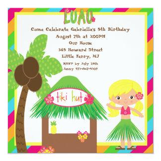 Tiki Hut Luau Square Birthday Invitation