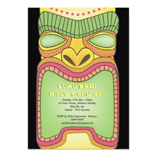 Tiki Luau Hawaiian Tropical Theme Beach Party 5x7 Paper Invitation Card