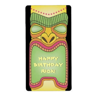 Tiki Luau Summer Tropical Birthday Stickers Labels