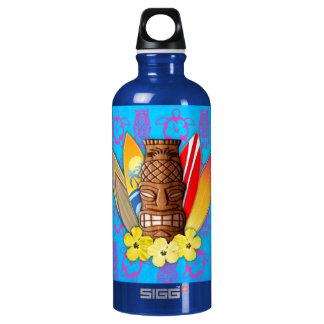 Tiki Mask And Surfboards Aluminum Water Bottle