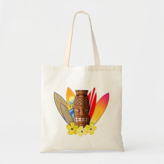 Tiki Mask And Surfboards Tote Bags