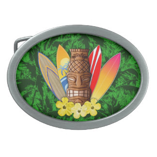 Tiki Mask And Surfboards Belt Buckle