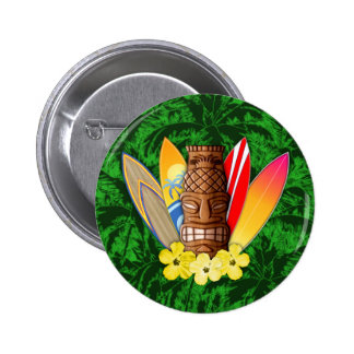 Tiki Mask And Surfboards Button