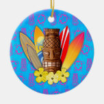 Tiki Mask And Surfboards Double-Sided Ceramic Round Christmas Ornament