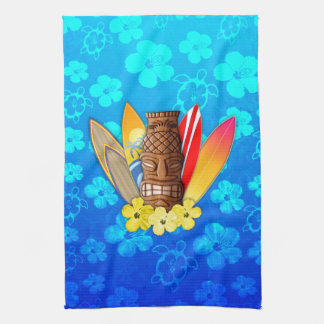 Tiki Mask And Surfboards Hand Towel