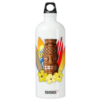 Tiki Mask And Surfboards Water Bottle
