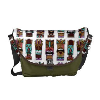 Tiki Mask Pattern Messenger Bags