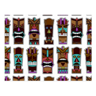 Tiki Mask Pattern Postcard