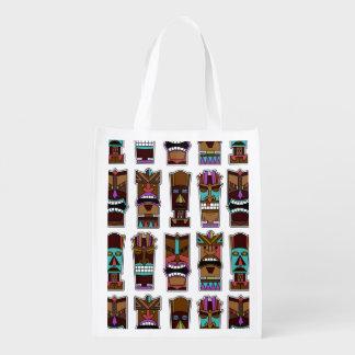 Tiki Mask Pattern Reusable Grocery Bags