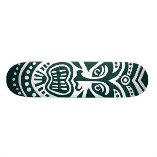Tiki Mask Style - Dark Green on Wood (Retro) Skateboard