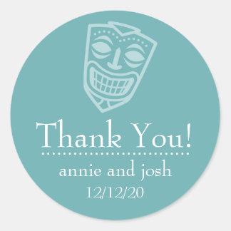 Tiki Mask Thank You Labels (Sea Foam Green/White)
