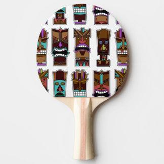 Tiki Masks Pattern Ping-Pong Paddle