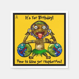 Tiki Party Funny Design on Yellow (Personalized) Paper Napkin